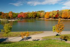 Beaver lake and foliage in autumn colors. stock photography