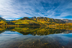 Beaver Lake Morning Reflection fall colors Colorado Royalty Free Stock Images