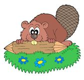 Beaver with log vector illustration Stock Photo