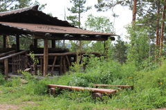 Beaver log. wooden hut Stock Image