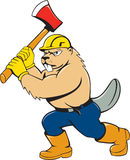 Beaver Lumberjack Wielding Ax Cartoon Stock Photography