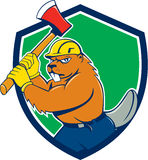 Beaver Lumberjack Wielding Ax Shield Cartoon Royalty Free Stock Photo