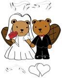 Beaver married cartoon set Stock Image