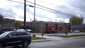 Beaver, PA - Circa October 21 2018 -Wendys fast food building as seen from the drive through side stock video footage