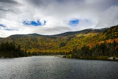 Beaver pond on the kancamangus highway in fall foliage stock photography