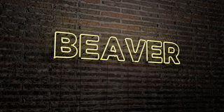 BEAVER -Realistic Neon Sign on Brick Wall background - 3D rendered royalty free stock image Stock Images