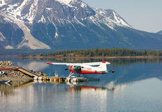 A beaver seaplane tied to a dock in northern bc Stock Image