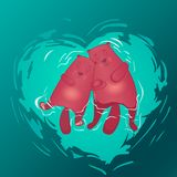 Beaver swimming in love, cartoon vector royalty free illustration