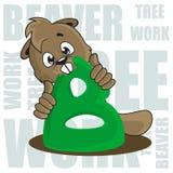 Beaver. Vector illustration. Beaver gnawing green letter. Vector illustration. Figure Stock Photos