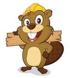 Beaver vestir um capacete de segurança e guardar uma prancha de w ilustração stock