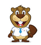 Beaver wearing a shirt and tie. Clipart picture of a beaver cartoon character wearing a shirt and tie Stock Image