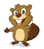 Beaver in welcoming gesture. Clipart picture of a beaver cartoon character in welcoming gesture Stock Photos