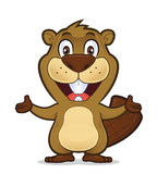 Beaver in welcoming gesture. Clipart picture of a beaver cartoon character in welcoming gesture royalty free illustration