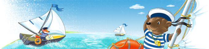 Beaver on the yacht. Boats, managed animals-sailors floating on the sea Royalty Free Stock Image