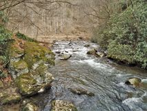 Beaverdam Creek at Backbone Rock. Beaverdam Creek runs through Backbone Rock Recreation Area in Shady Valley, Tennessee, near Damascus, Virginia stock photo