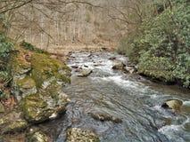 Beaverdam Creek at Backbone Rock. Beaverdam Creek runs through Backbone Rock Recreation Area in Shady Valley, Tennessee, near Damascus, Virginia Stock Photo
