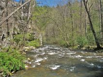 Beaverdam Creek at Backbone Rock. Beaverdam Creek runs through Backbone Rock Recreation Area in Shady Valley, Tennessee, near Damascus, Virginia stock photos