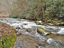 Beaverdam Creek at Backbone Rock. Beaverdam Creek runs through Backbone Rock Recreation Area in Shady Valley, Tennessee, near Damascus, Virginia stock photography