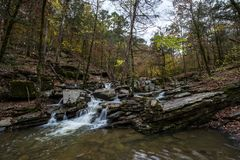 Beavers Bend Waterfall. Hidden waterfall at Beavers Bend State Park in Broken Bow, Oklahoma royalty free stock photography