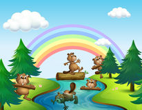 Beavers and logs by the river. Illustration vector illustration