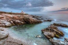 Beavertail latarnia morska przy zmierzchem Zdjęcie Stock