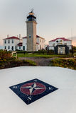 Beavertail Lighthouse at Dawn. Beavertail lighthouse and state park at dawn on a cold fall morning Stock Photos