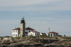 Beavertail Lighthouse, Newport, RI. This is a view from the water of the Beavertail Lighthouse in Newport, RI Stock Images