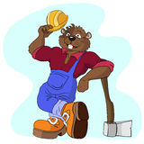 Beawer. Beaver construction worker with an axe Royalty Free Stock Image