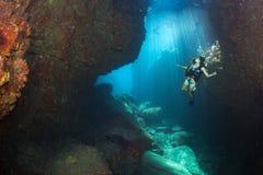 Beaytiful Latina Diver Inside a canyon Stock Photography