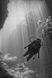 Beaytiful Latina Diver Inside a canyon Stock Photos