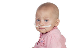 Bebé adorable que bate la enfermedad Foto de archivo libre de regalías