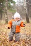 Bebé alegre que recorre en bosque con la ramificación Fotos de archivo