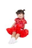 Bebé asiático feliz en chino traje Imagen de archivo libre de regalías