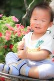 Bebé asiático que juega en un jardín Imágenes de archivo libres de regalías