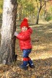 Bebé bonito en parque del otoño Fotos de archivo