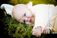 Bebé bonito na grama Imagens de Stock