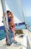 Bebé a bordo yachting Foto de archivo libre de regalías