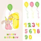 Bebé Bunny Birthday Card Imágenes de archivo libres de regalías