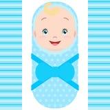 Bebé caucásico sonriente aislado en el fondo blanco ilustración del vector