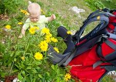 Bebé com portador da criança Fotos de Stock Royalty Free