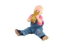 Bebé com presente Imagens de Stock Royalty Free