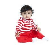 Bebé con el bastón de caramelo foto de archivo libre de regalías