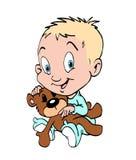 Bebé con el oso de peluche Imagenes de archivo