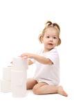 Bebé con el papel higiénico foto de archivo libre de regalías