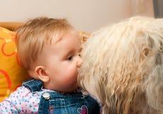 Bebé con el perro grande fotografía de archivo