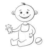 Bebé con juguetes, esquema Foto de archivo
