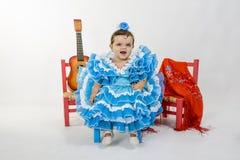 Bebé con la alineada del flamenco Imagenes de archivo
