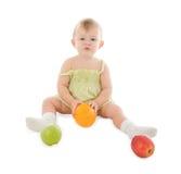 Bebé con las frutas Imágenes de archivo libres de regalías