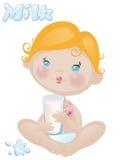 Bebé con leche Foto de archivo