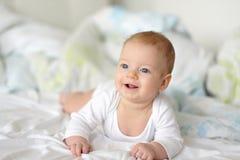 Bebé con los ojos azules Fotografía de archivo